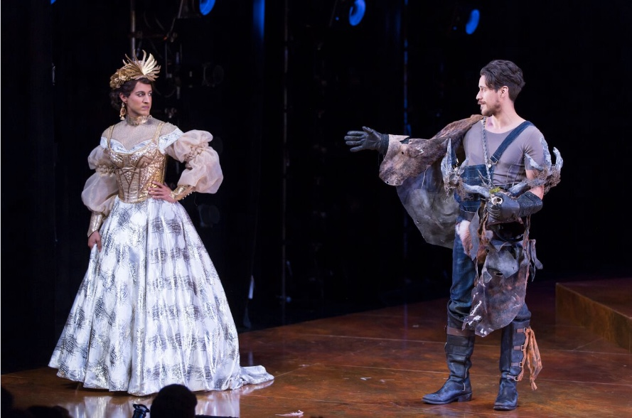 Maulik Pancholy as Katherina and Peter Gadiot as Petruchio in Shakespeare Theatre Company's production of The Taming of the Shrew, directed by Ed Sylvanus Iskandar. Photo by Scott Suchman.