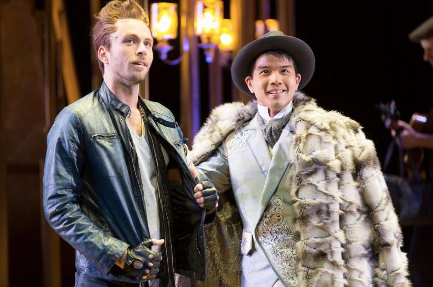Matthew Russell as Tranio and Telly Leung as Lucentio in Shakespeare Theatre Company's production of The Taming of the Shrew, directed by Ed Sylvanus Iskandar. Photo by Scott Suchman.