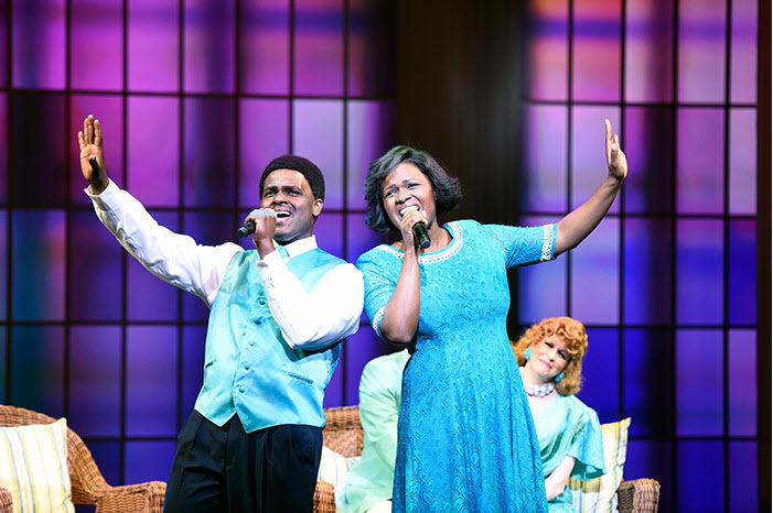(L to R) Juan Winans as BeBe, Deborah Joy Winans as CeCe and Kirsten Wyatt as Tammy Faye Bakker in Born for This: The BeBe Winans Story, which runs July 1-August 28, 2016 at Arena Stage at the Mead Center for American Theater. Photo by Greg Mooney, courtesy Alliance Theatre.
