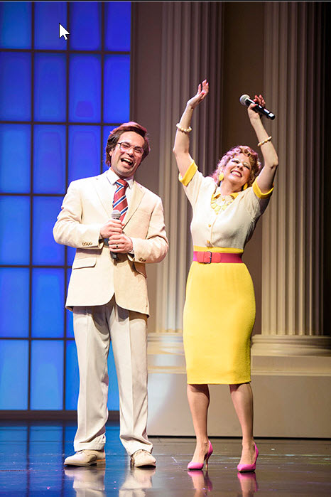 (L to R) Chaz Pofahl as Jim Bakker and Kirsten Wyatt as Tammy Faye Bakker in Born for This: The BeBe Winans Story, which runs July 1-August 28, 2016 at Arena Stage at the Mead Center for American Theater. Photo by Greg Mooney, courtesy Alliance Theatre.
