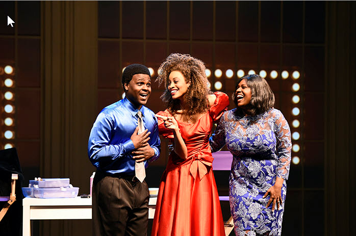 (L to R) Juan Winans as BeBe, Kiandra Richardson as Whitney Houston and Deborah Joy Winans as CeCe in Born for This: The BeBe Winans Story, which runs July 1-August 28, 2016 at Arena Stage at the Mead Center for American Theater. Photo by Greg Mooney, courtesy Alliance Theatre.