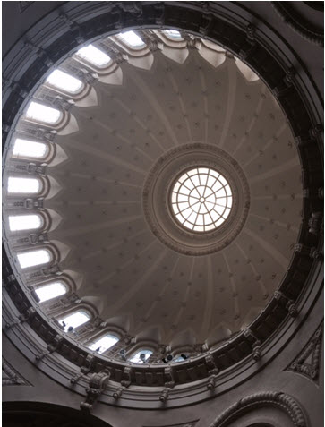 The domed ceiling in the Naval Chapel