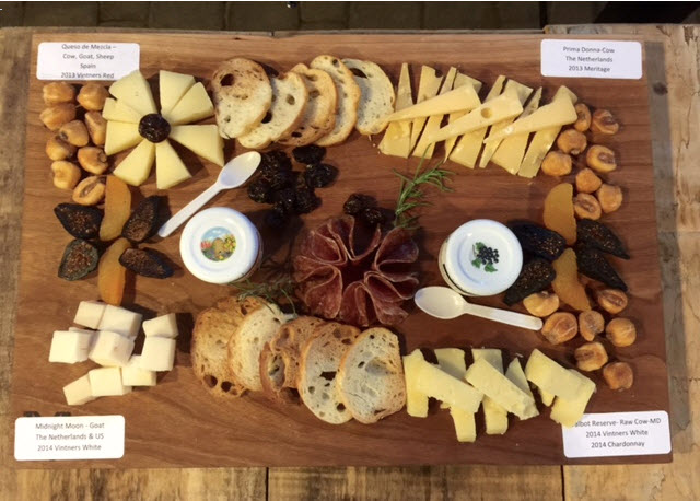 The delicious cheese and charcuterie platter