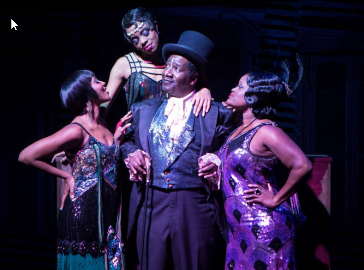 (l-r) Cleavant Derricks (Chimney Man) with Kara-Tameika Watkins, Eben K. Logan and Nova Y. Paton inJelly's. Photo by Christopher Mueller.