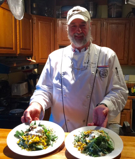 Richard Christy Chef/Owner of Rock-n-Creek Cabin with the first course