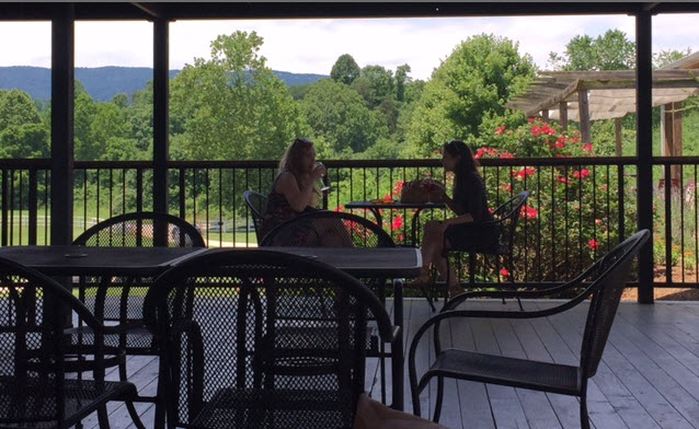 Lunch on the covered deck at Cardinal Point Winery