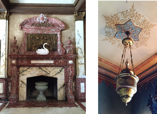 Architectural details abound in the decaying palace - A bejeweled Moorish lantern lights up the 'Persian Smoking Room'