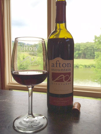Enjoying a glass of Petit Verdot Reserve at Afton Mountain