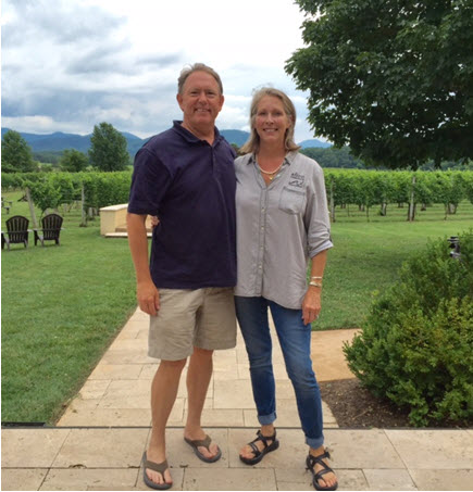 Tony and Elizabeth Smith at Afton Mountain Vineyards