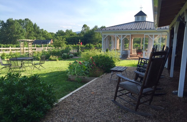 The potager garden and dining gazebo at The Farmhouse at Veritas