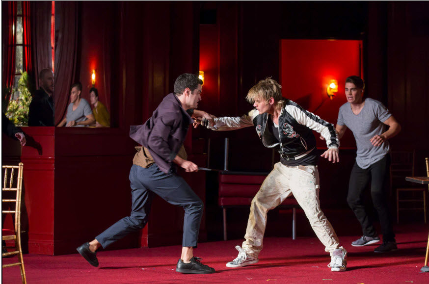Alex Mickiewicz as Tybalt, Jeffrey Carlson as Mercutio and Andrew Veenstra as Romeo in Shakespeare Theatre Company's production of Romeo & Juliet, directed by Alan Paul. Photo by Scott Suchman.