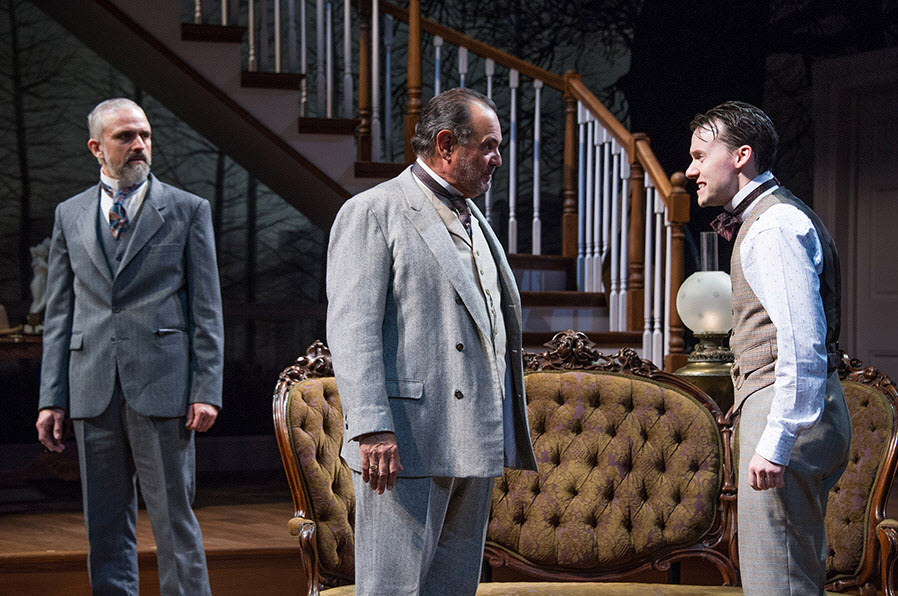 (L to R) Gregory Linington as Oscar Hubbard, Edward Gero as Benjamin Hubbard and Stanton Nash as Leo Hubbard in Lillian Hellman's The Little Foxes at Arena Stage at the Mead Center for American Theater, running September 23–October 30, 2016. Photo by C. Stanley Photography.