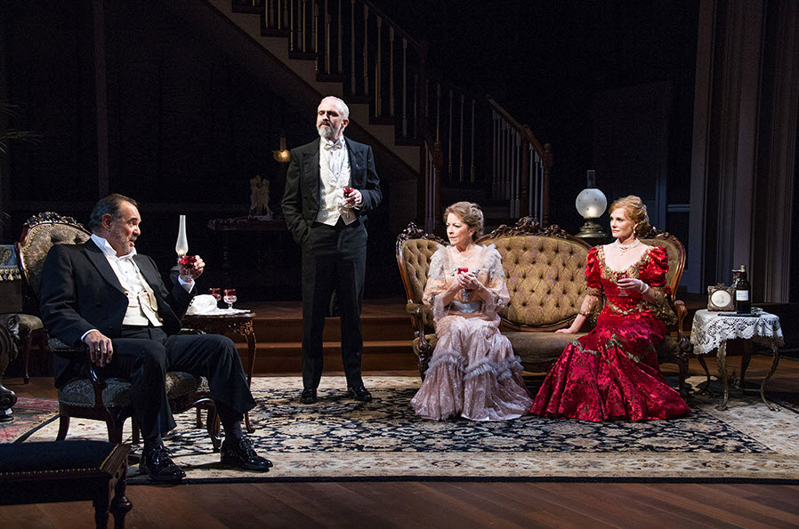 (L to R) Edward Gero as Benjamin Hubbard, Gregory Linington as Oscar Hubbard, Isabel Keating as Birdie Hubbard and Marg Helgenberger as Regina Giddens in Lillian Hellman's The Little Foxes at Arena Stage at the Mead Center for American Theater, running September 23–October 30, 2016. Photo by C. Stanley Photography.