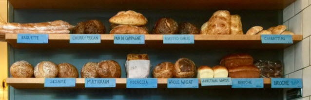 The day's breads at Junction Bakery