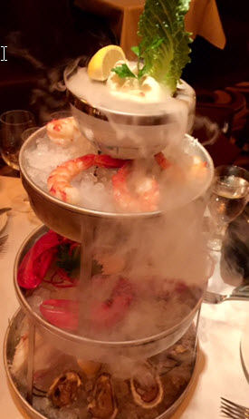 The smoking seafood tower at Ocean Prime