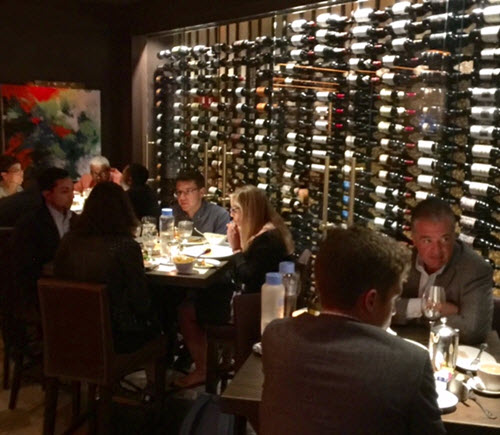 A wall of wines at Ocean Prime