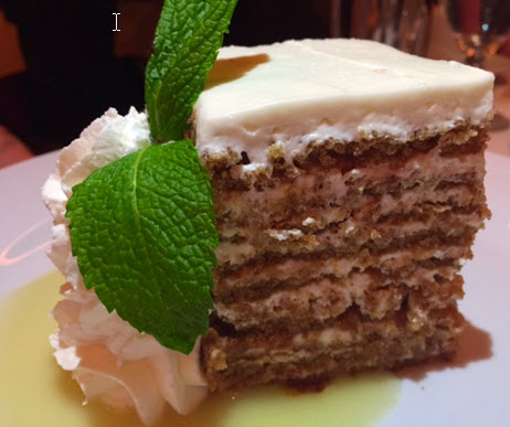 Ten layer carrot cake with pineapple syrup at Ocean Prime