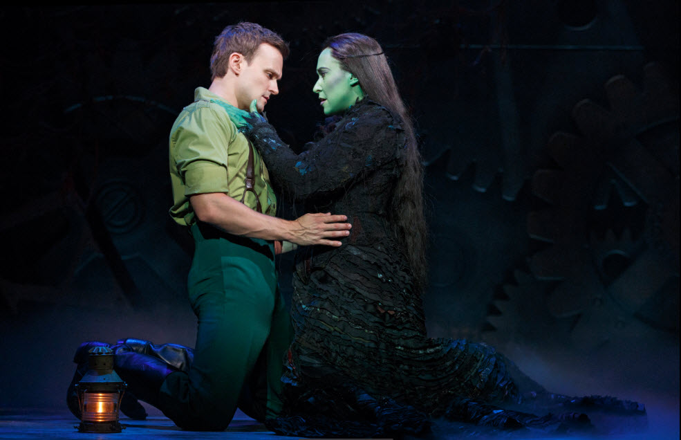 Jeremy Woodard as Fiyero & Jessica Vosk as Elphaba. Photo by Joan Marcus