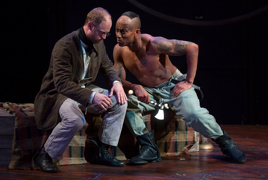 (L to R) Jamie Abelson as Ishmael and Anthony Fleming III as Queequeg i. Photo by Liz Lauren/Lookingglass Theatre Company.