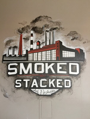 Smoked and Stacked's hot pastrami sign