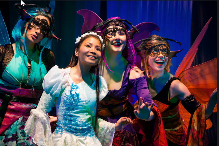 Francesca Blume, Kathy Gordon and Emily Whitworth as the Fairies with Eliza Smith as Briar Rose (Sleeping Beauty) Photo Credit: Johnny Shryock