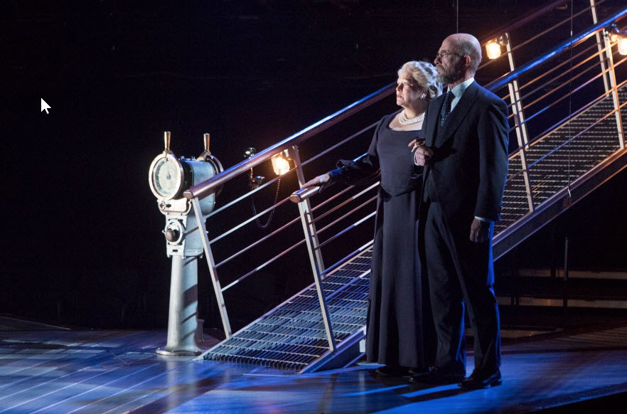 Florence Lacey (Ida Straus) and John Leslie Wolfe (Isidor Straus) in Titanic at Signature Theatre through January 29. Photo by Christopher Mueller