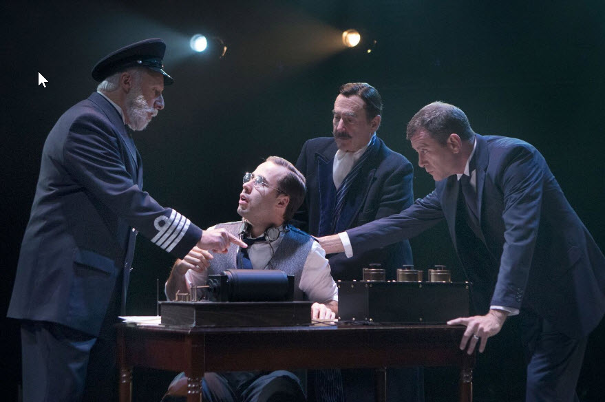 Christopher Bloch (Captain E.J. Smith), Nick Lehan (Harold Bride), Lawrence Redmond (J. Bruce Ismay), and Bobby Smith (Thomas Andrews) in Titanic at Signature Theatre through January 29. Photo by Christopher Mueller