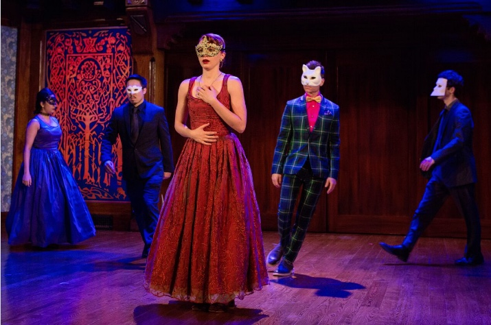 Rosalind (Lindsay Alexandra Carter) is suddenly taken aback at the Duke's masked ball in Shakespeare's As You Like It. (also pictured, l to r: Kimberly Chatterjee, Cody Wilson, Aaron Krohn, Brian Reisman.) On stage at Folger Theatre, January 24 – March 5, 2017. Photo by Teresa Wood.