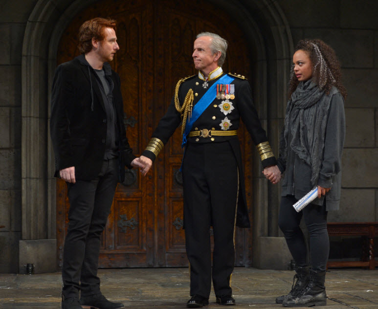 Harry Smith as Prince Harry, Robert Joy as King Charles and Michelle Beck as Jessica. . Photo by Kevin Berne.