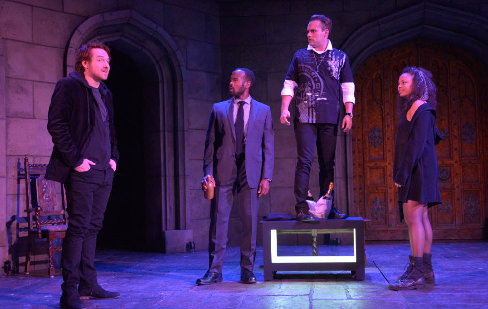 Harry Smith as Prince Harry, Rafael Jordan as Spencer, Jefferson Farber as Cootsy and Michelle Beck as Jessica in the American Conservatory Theater production of King Charles III, directed by David Muse. Photo by Kevin Berne.
