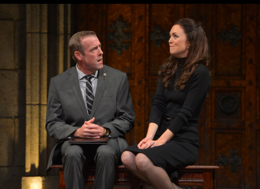 Ian Merrill Peakes as Prime Minister Evans and Allison Jean White as Kate in the American Conservatory Theater production of King Charles III, directed by David Muse. Photo by Kevin Berne.