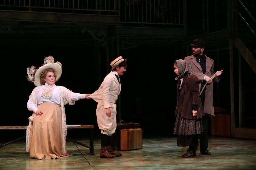 "Tracy Lynn Olivera, Henry Baratz, Dulcie Pham and Jonathan Atkinson in the Ford's Theatre production of ""Ragtime,"" directed by Peter Flynn. Photo by Carol Rosegg"