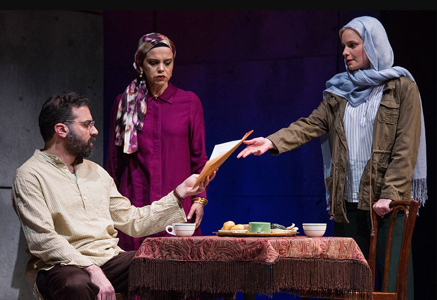 L to R) Ethan Hova as Dr. Malik Nazari, Nora Achrati as Leyla Nazari and Hannah Yelland as Valerie Plame. Photo by C. Stanley Photography.