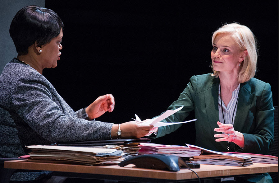(L to R) Aakhu TuahNera Freeman as Elaine Matthews and Hannah Yelland as Valerie Plame. Photo by C. Stanley Photography