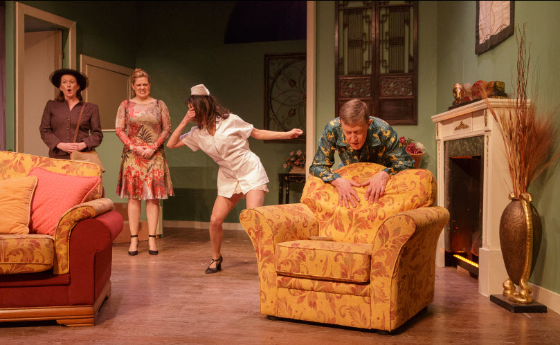Liz LeBoo (Mildred), Charlene Sloan (Harriet), Dana Gattuso (Anne) and Cal Whitehurst (Alex) - Photos by Keith Waters for Kx Photograhy