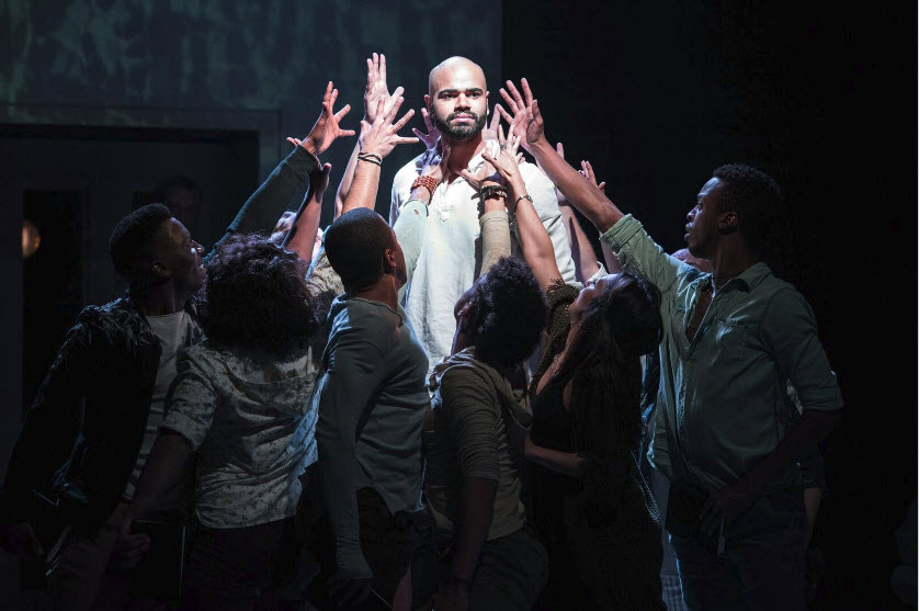 Nicholas Edwards (Jesus) with the cast of Jesus Christ Superstar. Photo by Margot Schulman
