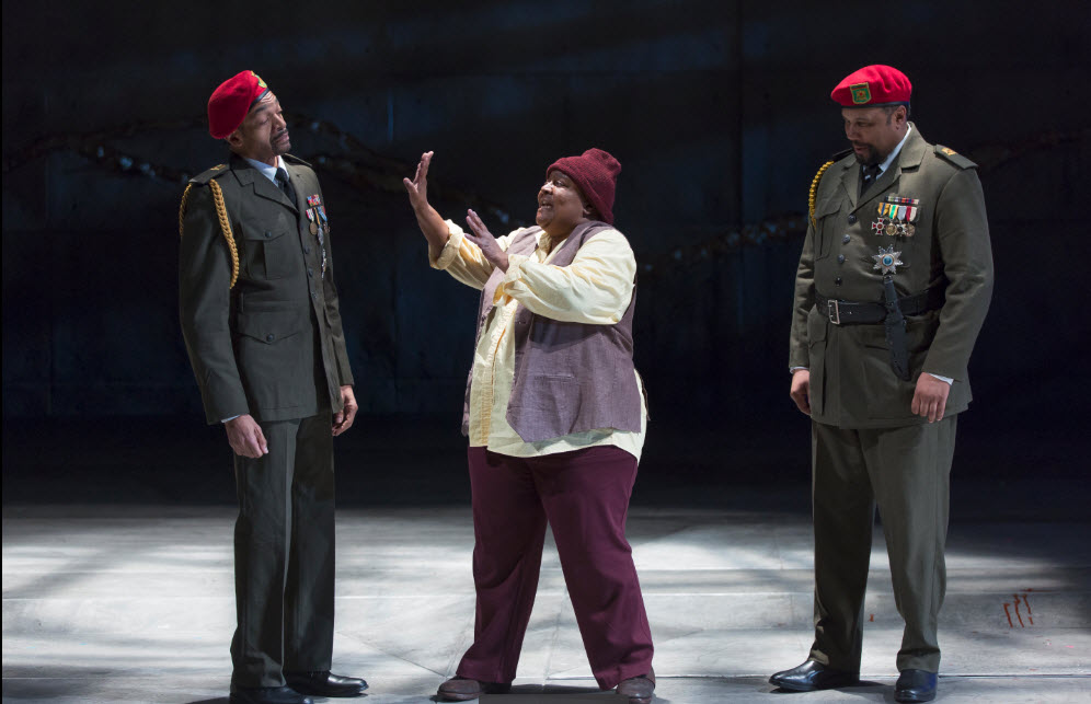 (l-r) Horace V. Rogers as Lennox, Myra Lucretia Taylor as the Porter and Marcus Naylor as Macduff. Photo credit Scott Suchman