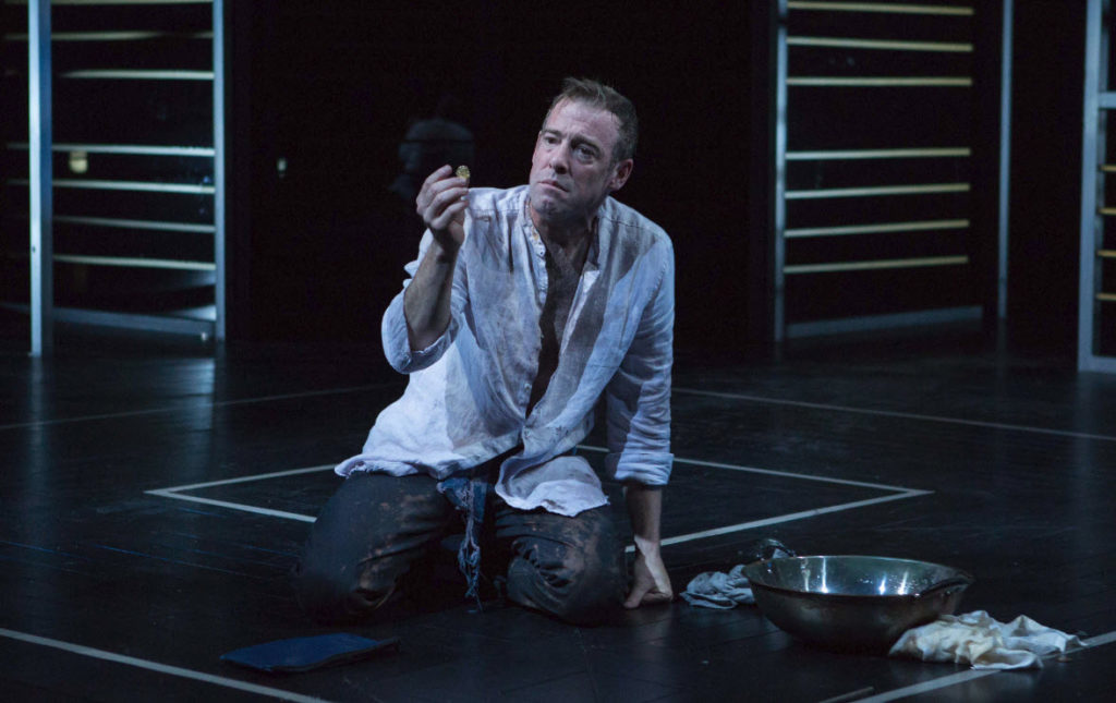 """Undone by goodness."" Ian Merrill Peakes as Timon of Athens - Photo by Teresa Wood"