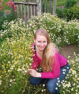 Author Liz Reitzig at Glencolton Farms among the chamomile
