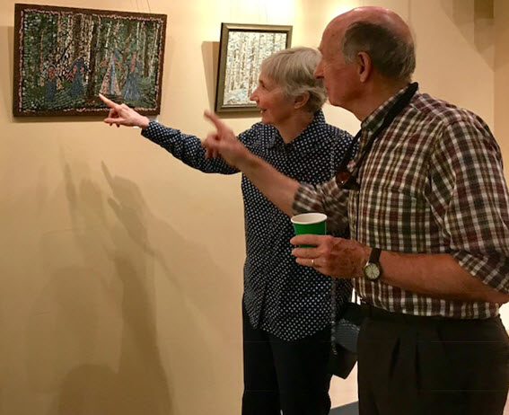Alexandria residents Judy and Carl Lohmann admire details of Tisara's mosaics - Photo credit Jordan Wright