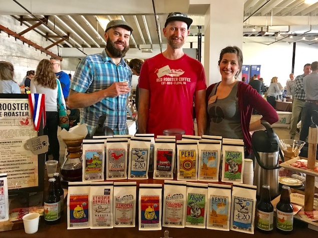 The team from Red Rooster Coffee Roaster with owner Haden Polseno-Hensley (center), Master Roaster Tony Greatorex (left) and Sales Mgr. Jolie Greatorex (right)