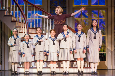 Charlotte Maltby as Maria Rainer, and the von Trapp children in The Sound of Music. Photo by Jeremy Daniel.