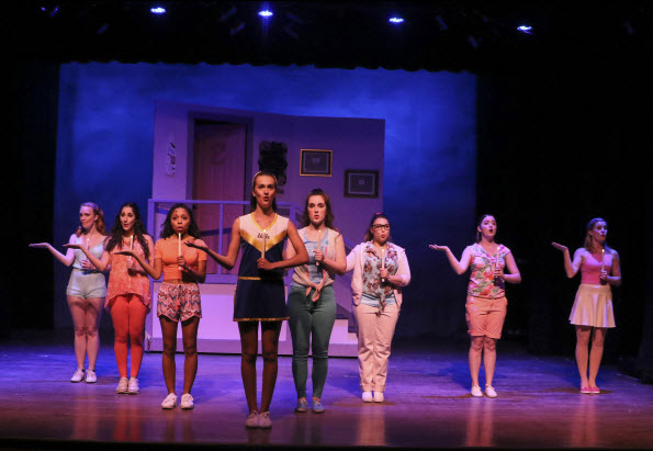 (l-r); Carlie Smith as Delta Nu, Ashley Kaplan as Delta Nu, Benita Adams as Pilar, Halle Kaufax as Serena, Rachel Cahoon as Margot, Courtney Caliendo as Delta Nu, Rebecca Weiss as Delta Nu, Heather Gifford as Brooke. Photo courtesy of LTA.