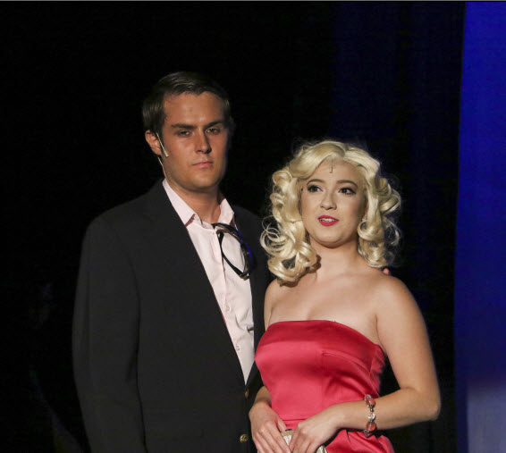 (l-r); Brendan Quinn as Warner and Morgan Arrivillaga as Elle Woods Photo credit LTA.