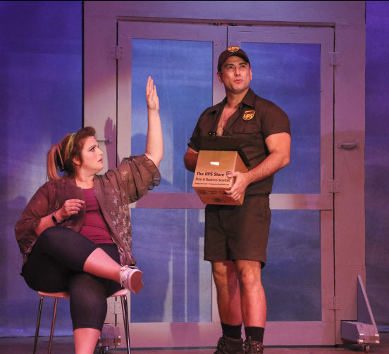 "(l-r); Katherine Lipovsky as Paulette and Sean Garcia as ""UPS Guy"" Kyle. Photo credit LBA"
