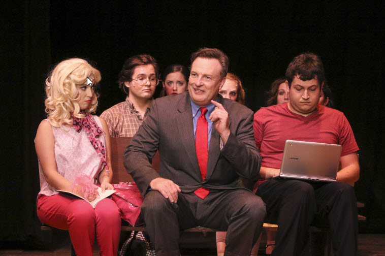 (l-r); Row 1 Morgan Arrivillaga as Elle Woods, Shawn Cox as Callahan, Marcelo Guzman as Ensemble; Row 2 Ryan Walker as Ensemble, Rebecca Weiss as Delta Nu, Carlie Smith as Delta Nu, Maria Ciarriocchi as Mom Track. Photo credit LTA.