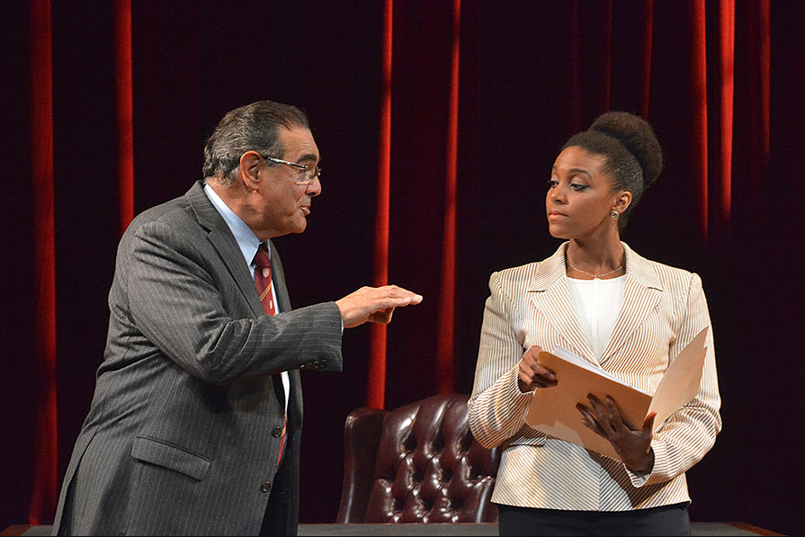 (L to R) Edward Gero as Supreme Court Justice Antonin Scalia and Jade Wheeler as Cat in The Originalist, which runs July 7-July 30, 2017 at Arena Stage at the Mead Center for American Theater. Photo by Gary W. Sweetman, Asolo Repertory Theatre.