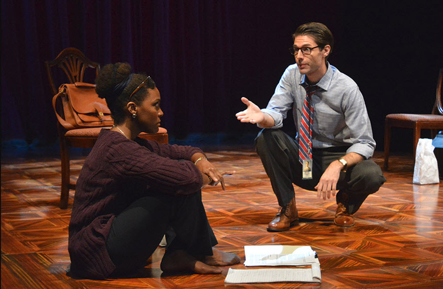 (L to R) Jade Wheeler as Cat and Brett Mack as Brad in The Originalist, which runs July 7-July 30, 2017 at Arena Stage at the Mead Center for American Theater. Photo by Gary W. Sweetman, Asolo Repertory Theatre.