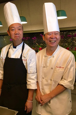 Peter Chang (right) cuts up with his Chef de Cuisine at Q