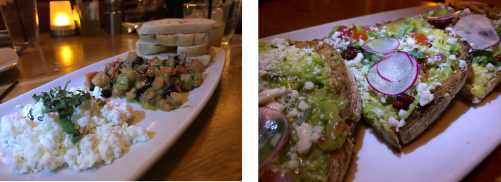 (l-r) Goat cheese bruschetta ~ Avocado toast